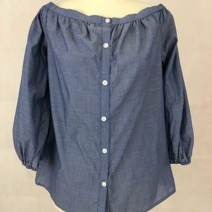 NWOT- Merona Off the Shoulder Button Down Chambray